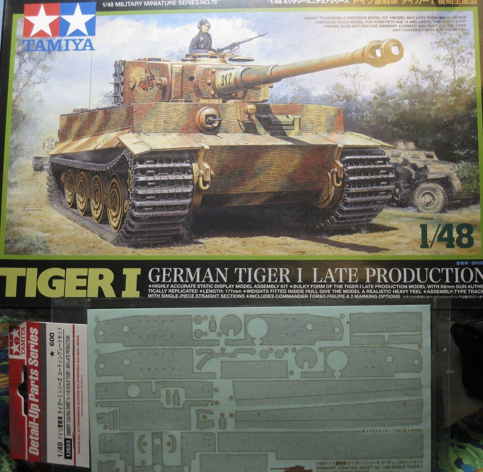 1  48 Tysk Tiger I Late Production Zimmerite beläggning Sheet, modelllllerler Kit av Tamiya