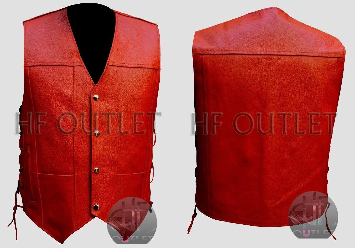 New Vintage Classic Stylish Motorcycle Red Men's Leather Vest - All Sizes