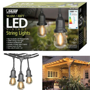 uk availability 04912 4ab8e Details about Feit 48ft (14.6m) Heavy Duty LED Waterproof String Lights Set  + 26 Bulbs