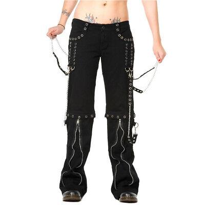 Banned Schwarze Gothic Damen Stretch Hose mit Ketten Silver
