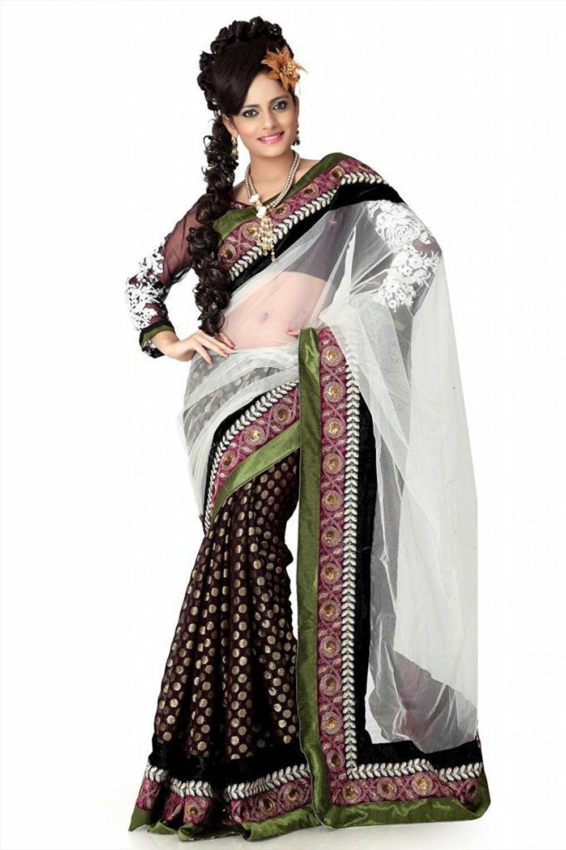 Designer Saree Women's Viscose Embroidered Saree Party Wear Sari - Free Size