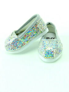 Glitter Slip-On Shoes fits American girl dolls  18 in Doll Clothes Silver
