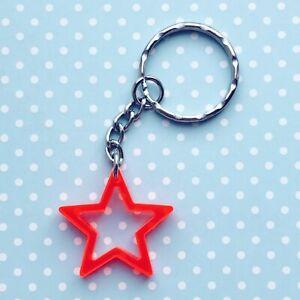 1-x-Handmade-Red-Neon-Star-Acrylic-Keyring-Keychain-Retro-Gift-Cute