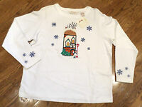 Womens Petite Sz Bechamel Winter Snowflake Home 4 The Holidays Shirt