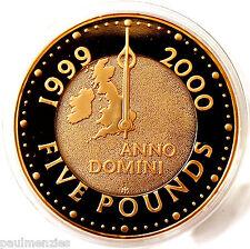 La regina Elisabetta II 2000 millennio anno prova oro cinque sterlina CROWN FDC