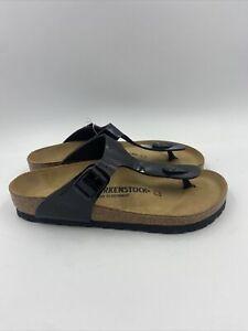Birkenstock Womens Gizeh Black Patent Thomg Sandals Size 37 M , 196