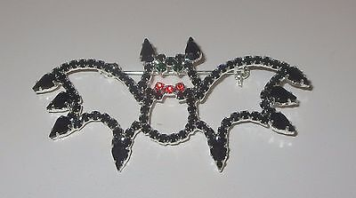 BAT Pin Crystals Wings Silver Tone Halloween Jewelry New Animals