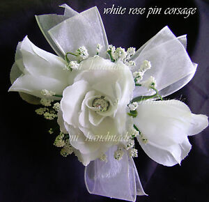 White-Ivory-Pink-Gold-Blue-Black-Silver-Champagne-Rose-Wrist-Pin-Corsage-Wedding