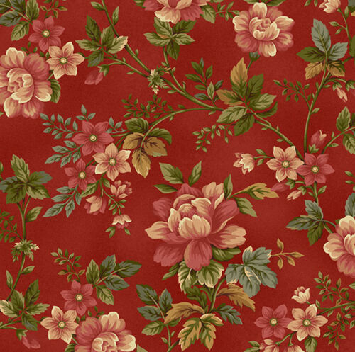 100/% Cotton Pheasant Run 8029-88 Red Floral Henry Glass By the Yard
