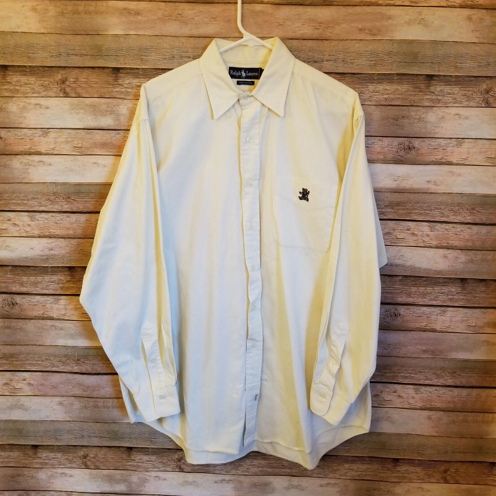 Vintage Ralph Lauren Embroidered Teddy Bear Men's Button Down Shirt Large EUC