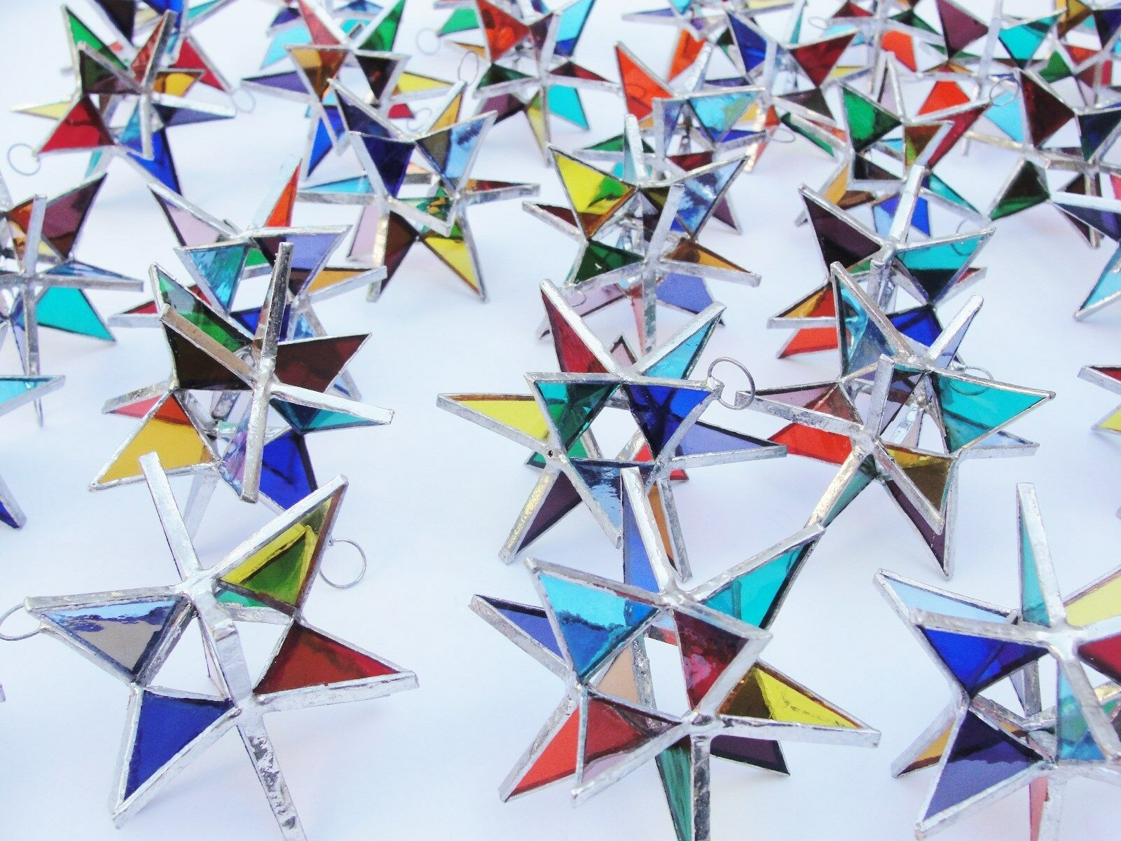 Viel 50er  Stained Glass Moravian STARS Iriding MULTI Farbe