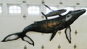 Details About Whale Wall Sculpture Humpback Calf Baby Art 10 Hand Crafted Aluminum Metal Usa