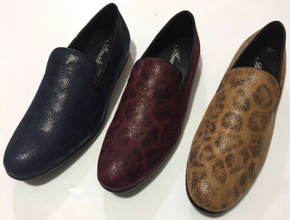 Amali  Uomo Navy, Tan, Smoking Burgundy Snake Skin Print Smoking Tan, Slipper Style Slip-Ons 7dc04f