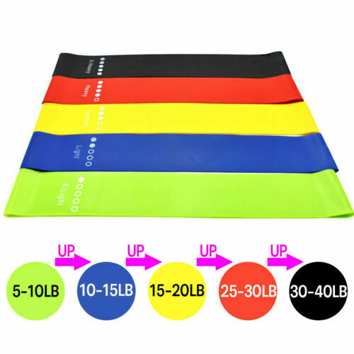 5Pcs Resistance Bands Loop Yoga Exercise Sport Home Fitness Gym Training Workout
