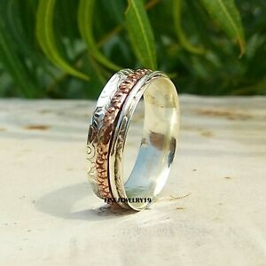 Solid-925-Sterling-Silver-Spinner-Ring-Band-Meditation-Statement-Jewelry-A42
