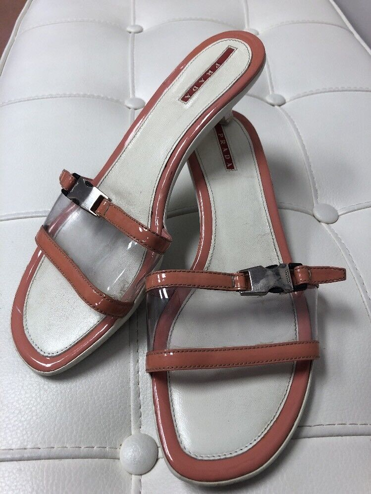 PRADA Tan Clear Leather Slides Sandals Shoes Sz 9 1/2 Kitten Heel