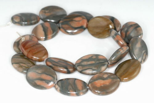 20X15MM RIBBON JASPER GEMSTONE OVAL LOOSE BEADS 15.5/""