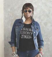 Womens Ashro Black Ebony Queen Rhinestone Tee Shirt T Shirt Size Medium
