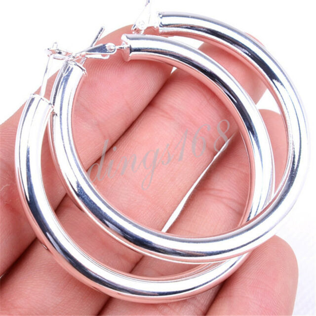 Classic Ladies 925 Sterling Silver 2 inch Large Round Hoop Fashion Earrings H792