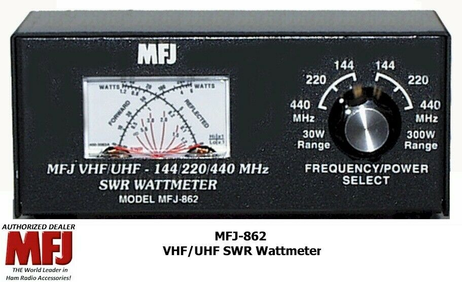 New MFJ-862 SWR meter, CROSS-NEEDLE SWR/WATTMETER 144/220/440 MHZ.