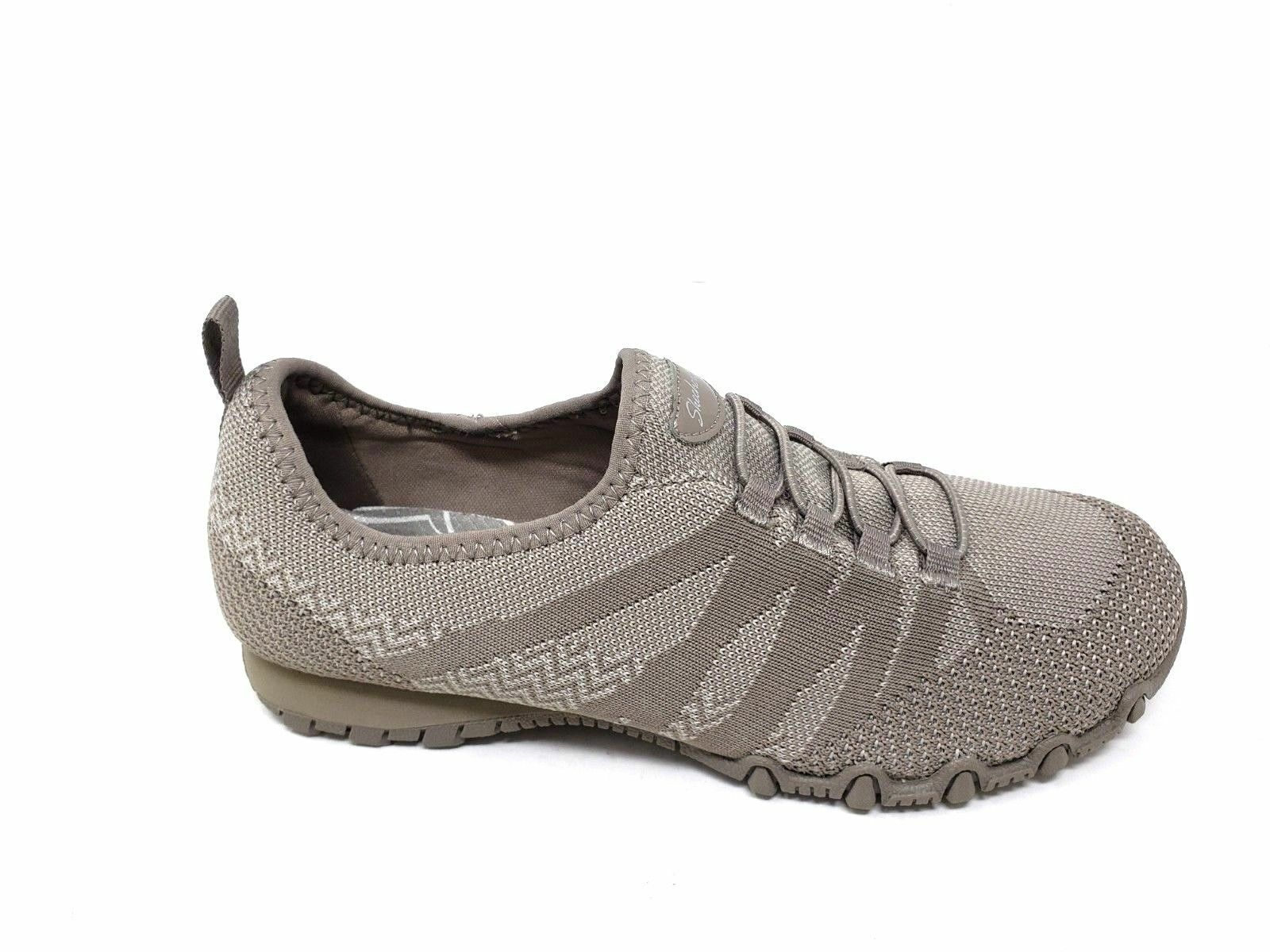 49422 Skechers Womens Relaxed Fit  Bikers Get With Knit Sneakers Taupe   BR38