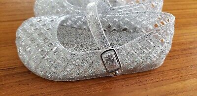 Old Navy Toddler Girls SIZE 5 6 9 Jelly Shoes CLEAR SPARKLE Basket Weave #214918