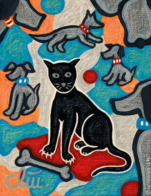JACQUELINE DITT Stray Cat A4 DRUCK nach Gemälde schwarze Katze Bilder Kunst