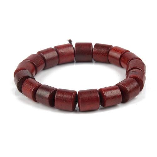 Women Men/'s Red Natural Cylinder Wood Beaded Barrel Beads Bracelet Stretchable