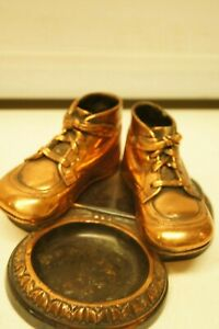 Vintage Pair Copper Plated Bronze Baby