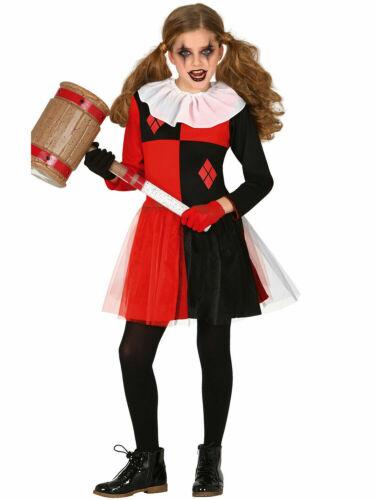 Girls Evil Jester Costume Scary Harlequin Clown Halloween Costume Fancy Dress