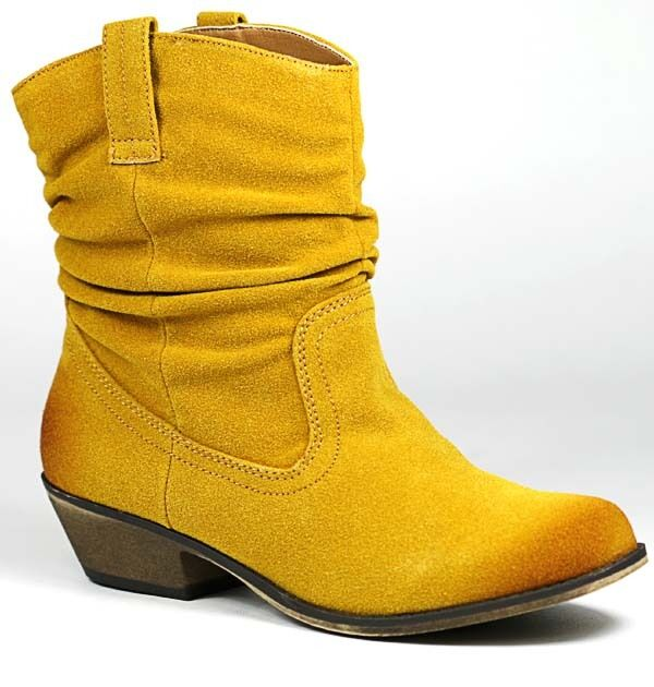Mustard Yellow Faux Suede Western Cowboy Ruched Ankle Boot Bootie Qupid Trio-01