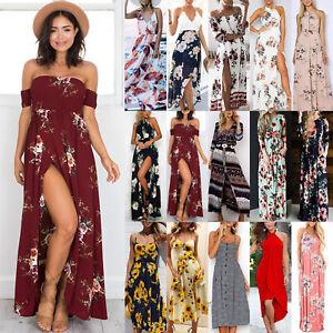 Womens Floral Long Maxi Dress Evening Party Cap Sleeve Summer Boho Ladies Dress