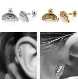 Hot-Selling-Stainless-Steel-Feather-Barbell-Ear-Cartilage-Helix-Stud-Bar-Earring