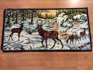 Vintage-Made-In-Italy-20-X-38-Deer-Stag-Doe-Fawn-Tapestry-Velvet-Forest-Sunset