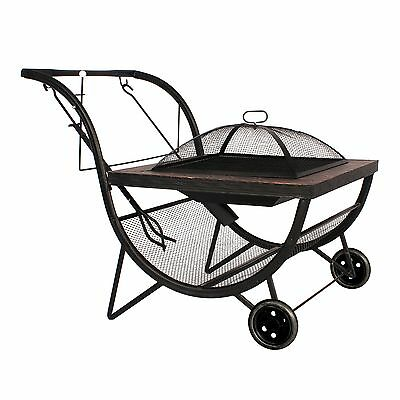 Phoenix Portable Firepit and BBQ Trolley