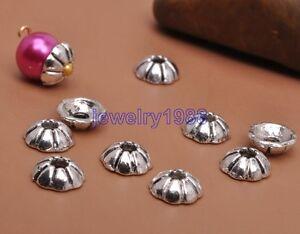 100pcs-Tibetan-Silver-Charm-Pumpkin-Texture-Bead-Caps-6mm-Jewelry-Finding-F3093