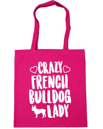 10 litres Crazy french bulldog lady dog Tote Shopping Gym Beach Bag 42cm x38cm