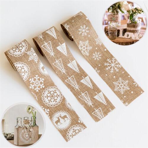 2M Merry Christmas Jute Burlap Hessian Lace Ribbon Elk//Snowflake Home Decor HQ