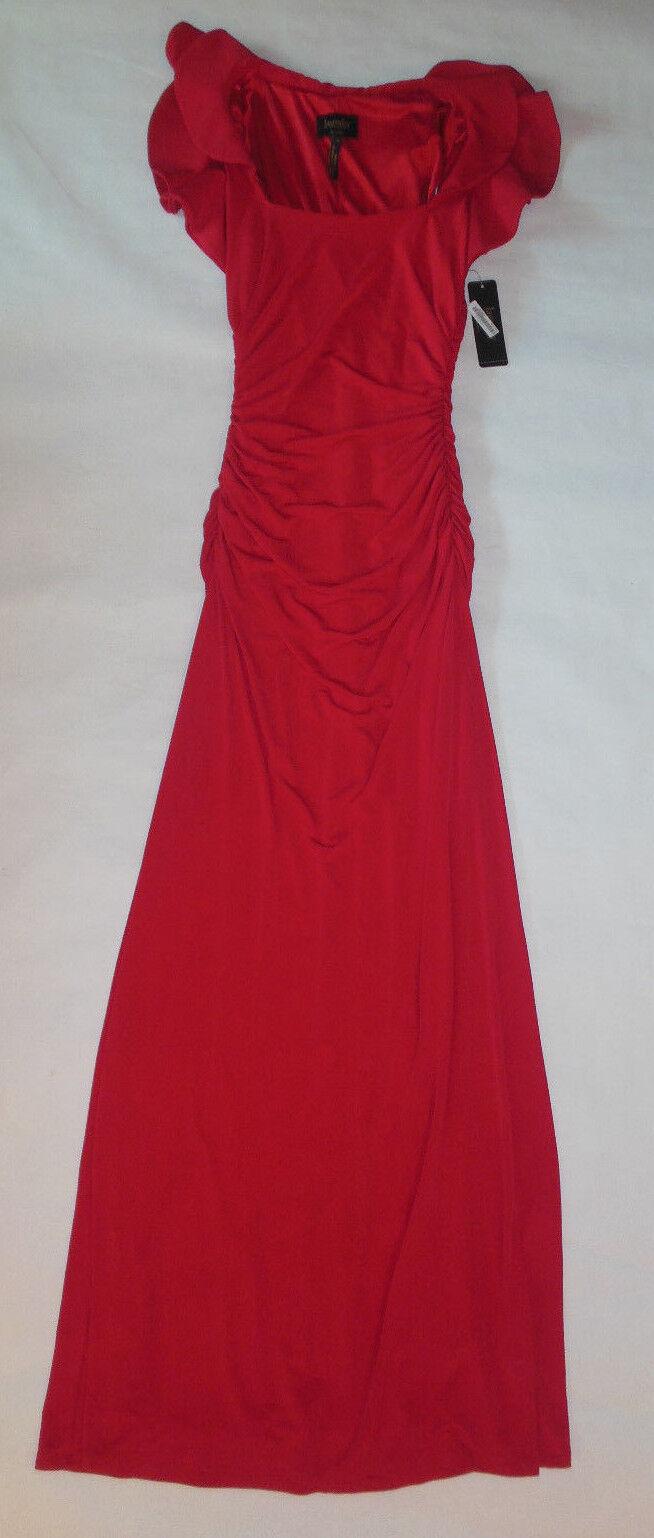 NWT LAUNDRY BY SHELLI SEGAL damen DRESS rot LONG SLEEVELESS FLOWING Größe 0