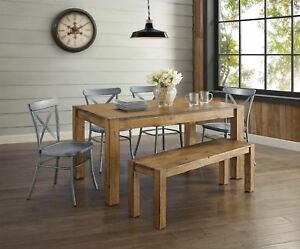 Awesome Details About 6 Piece Brown Rustic Dining Table Bench Silver Chairs Set Home Living Furniture Caraccident5 Cool Chair Designs And Ideas Caraccident5Info