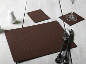 Set-of-6-BROWN-EMBOSSED-Leatherboard-PLACEMATS-amp-6-COASTERS