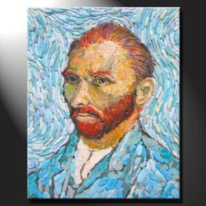 Original mosaic artwork painting porcelain van gogh inspired portrait GeeBeeArt