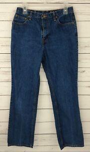 Eddie-Bauer-Womens-Blue-Mom-Jeans-10-Denim-Straight-Leg-Classic-Waist-Mid-Rise
