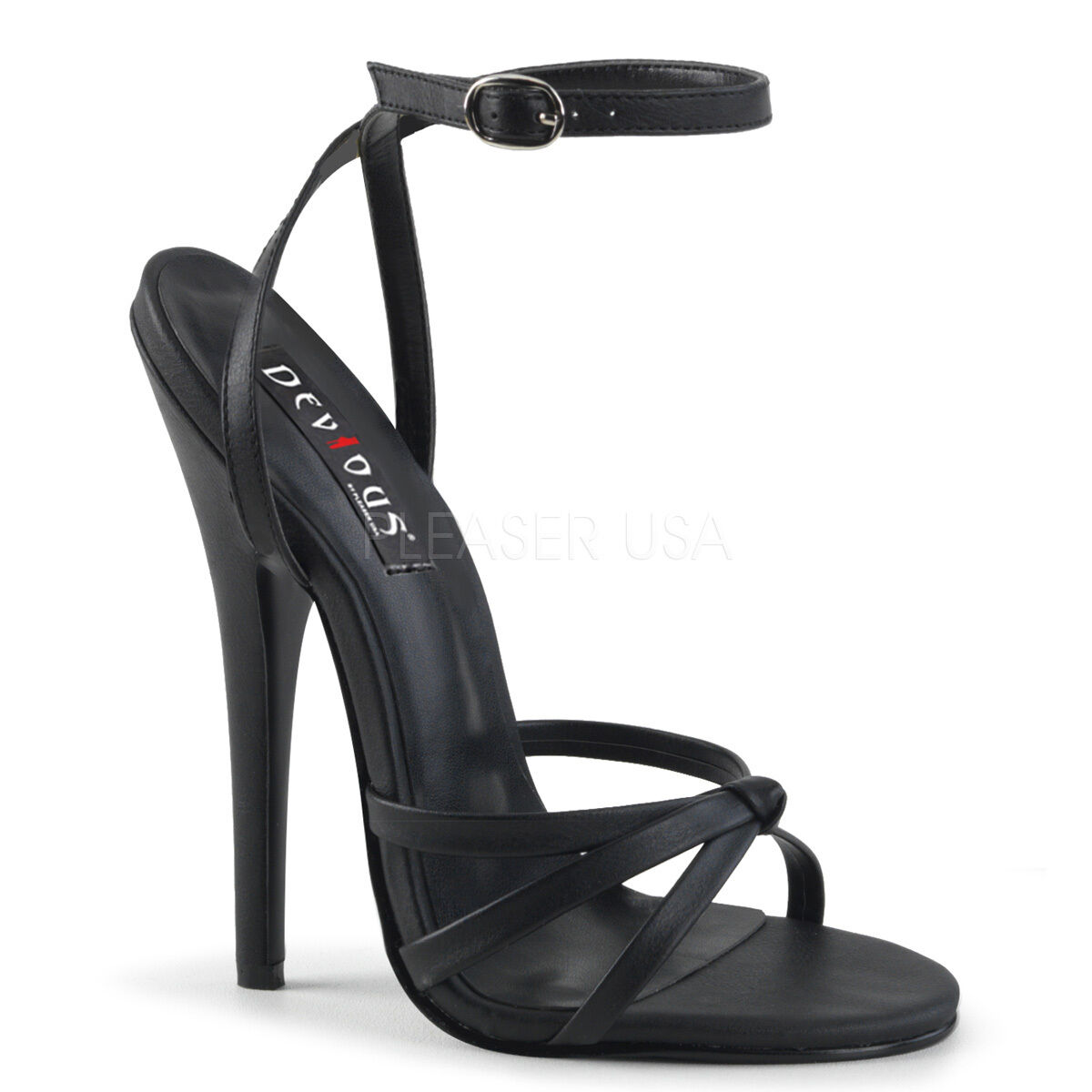 PLEASER DEVIOUS DOMINA-108 BLACK PU STILETTO HEEL ANKLE STRAP SANDALS