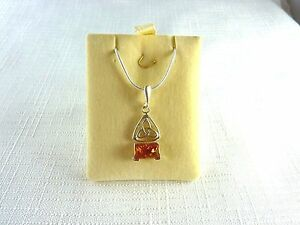 Genuine-Natural-Baltic-Cognac-Amber-925-Sterling-Silver-Necklace