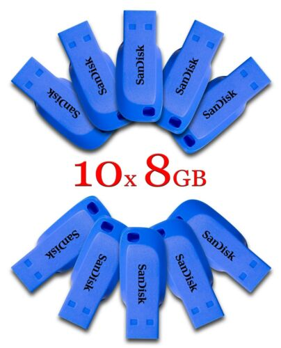 LOT 10x SanDisk Cruzer Blade 8GB USB 2.0 Flash Memory Pen Drive Stick 8 GB BLUE