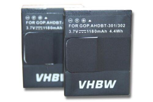 2x Batería 1180mAh para Gopro Hero 3 Plus Black Edition