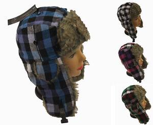 NEUF-garcon-fille-grand-carreaux-Chapeau-trappeur-TOUT-NOUVEAU-hiver-ski