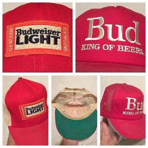 Lot Of 2 Rare 1970s BUDWEISER LIGHT   BUD KING OF BEERS Trucker Hat ... 104cecfe1273
