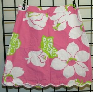 Lilly-Pulitzer-Pink-amp-White-Floral-Skirt-Scalloped-Hem-w-Back-Zip-Sz-2
